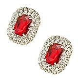 Tooky - Juego de dos broches de gemas y cristales para zapatos, extraíbles rojo rojo