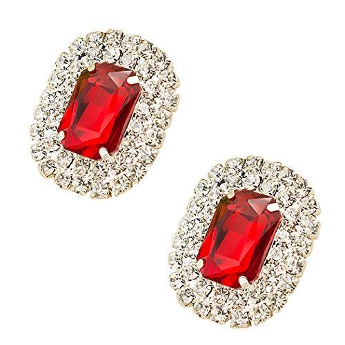 Tooky Kristallstein-Clips mit unechten Edelsteinen, abnehmbar, für Damen, zum Verzieren von Schuhen, Taschen, als Hochzeits- und Partydekoration, 2Stück rot rot (Rot Schnalle Abnehmbare)