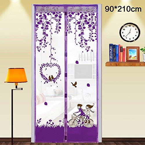 Su-luoyu Moskitonetz Tür Insektenschutz Magnet Vorhang Fliegenvorhang für Balkontür Wohnzimmer, Schwarz 90*210cm/100*210cm (A:90*210CM, Lila)