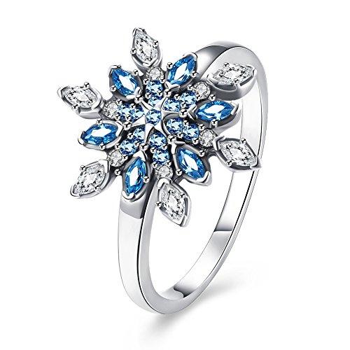 htsgeschenk fuer Frauen, Elegante Weibliche Schneeflocke Kristall Zirkon 925 Silber Ring Hochzeit Verlobungsringe Frauen Schmuck (Schneeflocke Ringe)