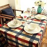 PinShang Addensare Rosso Blu Beige Grande griglia casa Cotone per la Decorazione per Forno a microonde, scrivania, Tavolo per Computer, Tavolo da conferenza, Red Blue Beige Large Grid, 80 x 120 cm