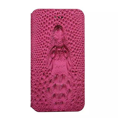 iPhone 6Plus Coque, motif crocodile en cuir PU étui housse coque pour iPhone 5,5avec support Rose rouge