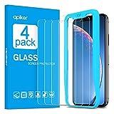 apiker [4 pezzi] Compatibile con iPhone XR Vetro Temperato,Pellicola Protettiva-Durezza 9H, Bordi Arrotondati 2.5D,Alta Trasparenza, Anti-Impronte Digitali/Graffi,Nessuna Bolla