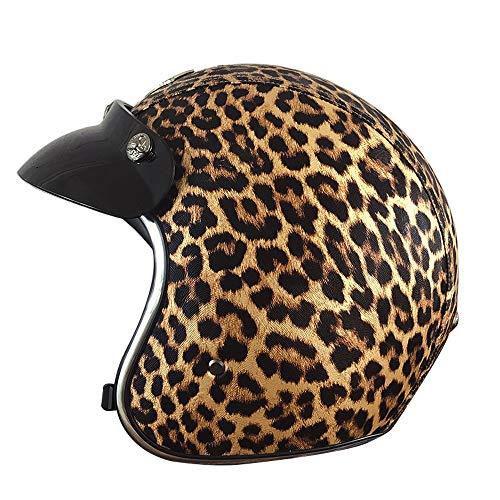 PURROMM Leopardenmuster Helm Damen-Motorradhalbhelm DOT Motorbike Cruiser Chopper,S