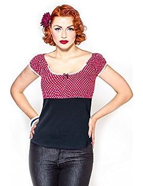 Rum ble59Mujer–Carmen Camiseta–Sweet Polkadots–Color Rojo