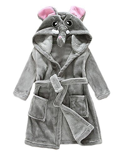 Unisexe Peignoir de Bain à Capuche Manches Longues Pyjama Bathrobe pour Fille et Garçon Éléphant 110