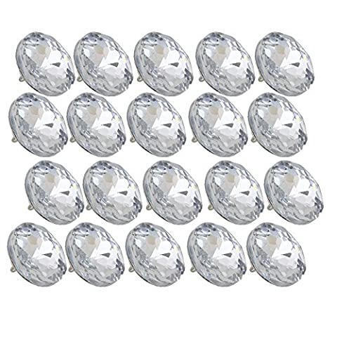 20pcs 25mm Dia Clear Crystal Diamante Round Buttons Tufting Sofa