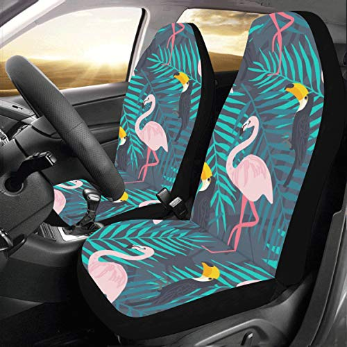 Plsdx Sommer Rosa Cool Niedlich Flamingo Benutzerdefinierte Universal Fit Auto Drive Autositzbezüge Protector Für Frauen Automobil Jeep LKW SUV Fahrzeug Zubehör für Erwachsene Baby Set Von 2 -