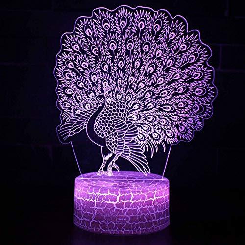 YRANPEA Pfau-Thema 3D führte Nachtlicht-Farbänderungs-Stimmung