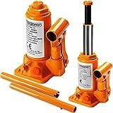 Monzana® Wagenheber hydraulisch 3 Tonnen Stempelwagenheber - Modellwahl 2t, 3t, 5t , 8t, 10t, 20t | aus stabilem Stahl | platzsparend verstaubar