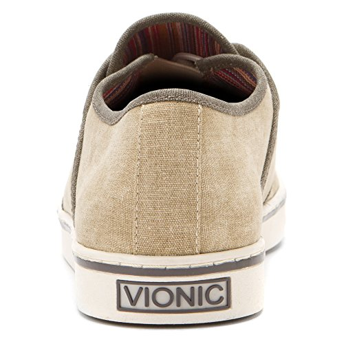 Vionic Bryson - Mens Canvas Sneaker Wheat - 7 Marrone (Bianco)