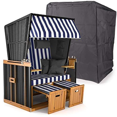 Sanzaro Strandkorb XL120 cm Deluxe Zweisitzer Holz und Poly-Rattan Volllieger 4 x Kissen 2 Personen Blau-Weiss Blockstreifen inkl. Schutzhülle