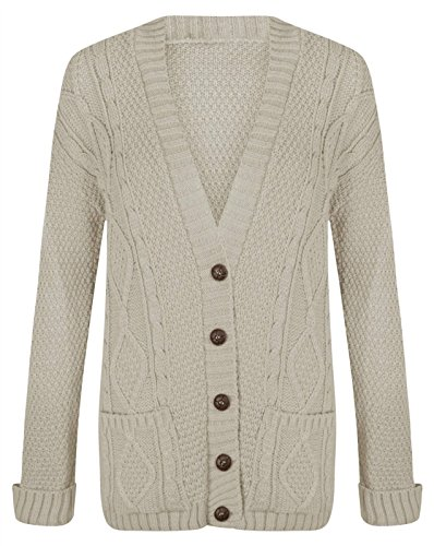 GRANDE TAILLE FEMMES NEUF TORSADE GROSSE MAILLE BOUTON TRICOT GRAND-PÈRE CARDIGANS UK8-22 Beige