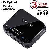 Avantree Transmetteur Bluetooth 4.2, Support entrée Optique TOSLINK, RCA, aptX Low Latency vers 2 casques, Emetteur Adaptateur audio sans fil 3.5 mm pour TV, Indicateurs LED - Audikast [Garantie 3 ans]