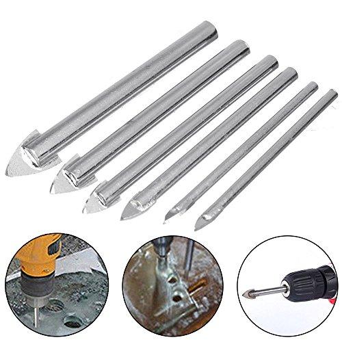 LEXPON - Juego de 6 brocas triangulares para sierra perforadora de 3 a 10 mm para azulejos de cristal y metal