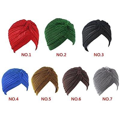 QHGstore Frauen Twist Falten Rüsche Chemo Vorgebundenen Turban Cap Haar Wrap Cover rot