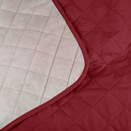 KINLO® Sofahusse 3 Sitzer 167×165 Weinrot Sofa überwurf 100% Baumwolle Füllung - 5