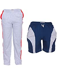 TeesTadka Men's Cotton TrackPants For Men And Shorts For Men Combo Offers Pack Of 2 - B01MRZQERP
