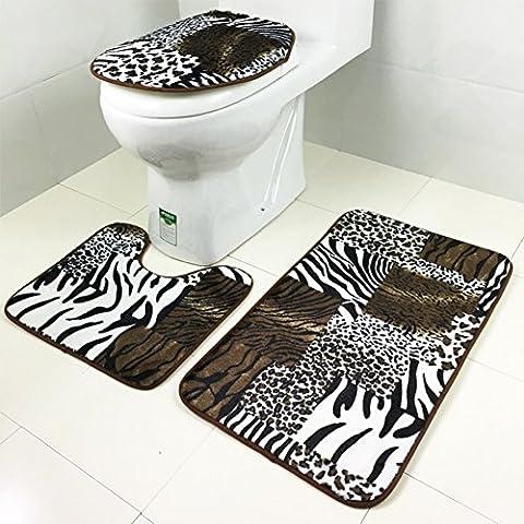 3 stücke bathroom contour matt set flanell non-slip toilette drei sets teppich sockel deckel matte toilette abdeckung-E 44x75cm(17x30inch)