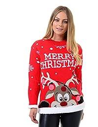 Mymixtrendz. Donne Signore Xmas Reindeer Buon Natale novità 3D Bubbles Maglione Maglione 8-22