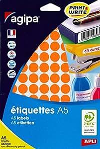 AGIPA Etui A5 ( 10F ) de 960 Pastilles Gommettes Rondes 15 mm Orange
