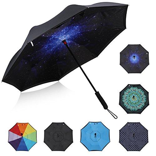 G4free Double Layer Inside Out Regenschirm Cars Reverse Inverted Regenschirm Große Stick Windproof Regenschirm für Männer und Frauen (Sternenklarer Himmel)