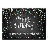 PERSONALISIERTE XXL Geburtstagskarte mit Umschlag - Happy Birthday Konfetti Look schwarz - Übergroße Klappkarte mit Ihrem Text, anpassbar