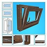 Kellerfenster Kunststoff Fenster Garagenfenster - 3-Fach Verglasung, BxH 80x45 cm, DIN links - Golden Oak Beidseitig