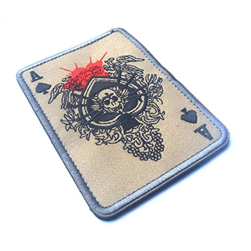 Appearandes Death Card Rectangular Patch Embroidery Spade A Poker Tactical Patch Military Morale TAD Armband Army Cloth Combat Badge (Patches Morale Combat)