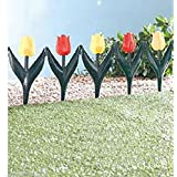 24 x Plastic Tulip Flower Bed Garden Border Grass Lawn Edge Fence Waterproof All Year Round Edging