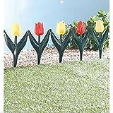 Recinzione per prato, 24 x tulipani in plastica da giardino, adatta a tutto l'anno