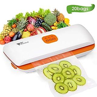 Amzdeal Machine sous Vide - Mise sous Vide et Scellage Automatique pour Fruits, Viande et Légumes, Appareil de Mise sous Vide pour Conservation avec 20 Secs et Tuyau d'aspiration