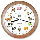 KOOKOO KidsWorld madera, reloj de pared genuino, sonidos de animales naturales, 12 animales de la ganja, ilustraciones Monika Neubacher-Fesser, sensor de luz