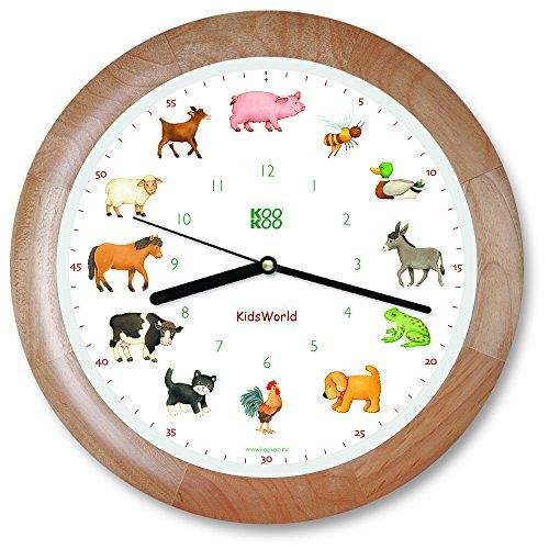 KOOKOO KidsWorld Holz Wanduhr mit Tiergeräuschen Tieruhr Bauernhofuhr mit 12 Tieren vom Land mit Lichtsensor