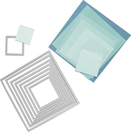 Sizzix 2118737565 Framelits (die Set Squares, Quadrate 8-teilig von 3 x 3 cm bis 10,7 x 10,7 cm)