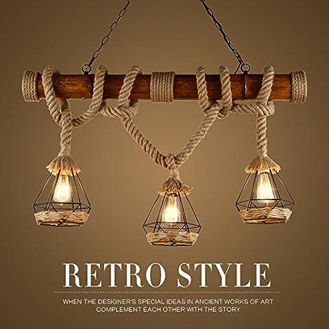 GRFH Rustic Hemp Rope Pendant Lights Wood Downlights Ceiling Lights birdcage Lamps Shades