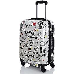 G. Kaos - Trolley maleta de cabina con 4 ruedas rígida de ABS policarbonato, película protectora para eliminar, para vuelos como Ryanair 50 cm y Easyjet 55 cm, fantasía tres países Loves-Y 55cm S