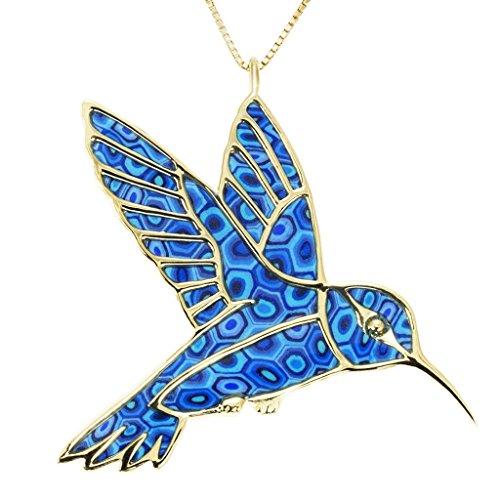 Collier Colibri d'Or - Pendentif oiseau de designer fait main - Bijoux vintage - Cadeau original Bleu