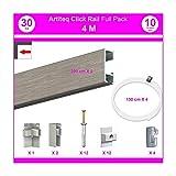 NEWLY - Sistema a binario Click Rail, Pack Eco 4 m Alluminio