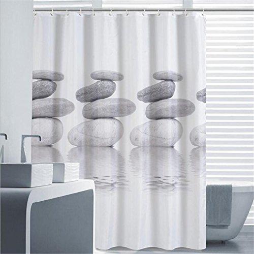 PLYY 3D Duschvorhang Digital European drucken Kieselstein Wasserdichter Mehltau Vorhang Partition Polyester verdickt, 120 * 180 (Kieselsteine Duschvorhang)