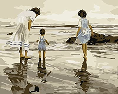 [ New Release ] Diy Oil Painting by Numbers, Paint by Number Kits - Playing at The Sea Beach 16*20 inches - Digital Oil Painting Canvas Wall Art Artwork Landscape Paintings for Home Living Room Office Christmas Decor Decorations Gifts - Diy Paint by Numbe