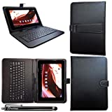 iTechCover® it New British 10' Tablet PC / Black Universal Range (10.1 Inch) Keyboard Case Leather Folio Wallet Cover Pouch With Desktop Stand & Capacitive Touch Screen Stylus Pen