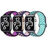 Hamile Kompatibel für Apple Watch Armband 38mm 40mm 42mm 44mm,Dual Farbe Weiches Silikon Atmungsaktiv Sportarmband für Apple Watch Serie 4 Serie 3 Serie 2 Serie 1, 11 Farben