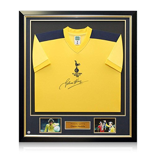 Glenn-Hoddle-Signed-Tottenham-Hotspur-1982-FA-Cup-Final-Shirt-In-Deluxe-Black-Frame-With-Gold-Inlay