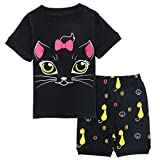 Mombebe Schlafanzug Mädchen Sommer Kinder Katze Pyjamas Set kurzer Nachtwäsche (Schwarz, 3 Jahre)