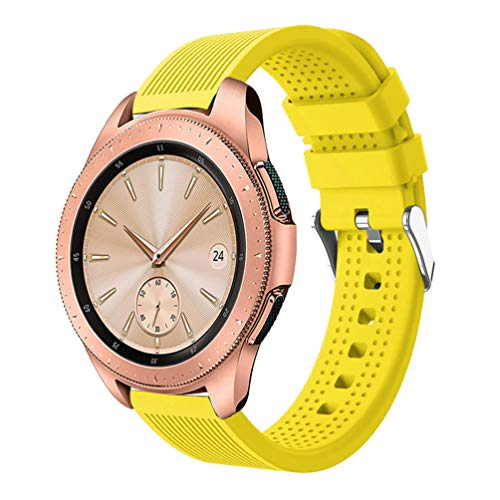 HappyTop Sportarmband für Samsung Galaxy Watch, 42 mm, Silikon, Candy, Unisex, gelb