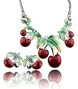 Saoirse Damen Erdbeere Anhänger Halskette Ohrringe