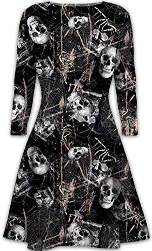 ucktes Kleid für Swing Night & Dress Up-Partei-Abnutzung (XXL 48-50, Black Skeleton Print) (Dress Up Skeleton Halloween)