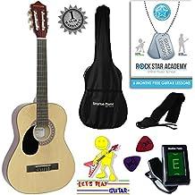 zurdos–Guitarra acústica infantil 3/4Guitarra de concierto con guitarra Pipas de funda, afinador y púas
