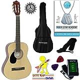 'Stretton Payne' Guitare GAUCHERS Acoustique Classique 3/4 Pack - Naturel - Avec Housse et Accordeur électronique et Mediator et Cours de guitare en ligne...